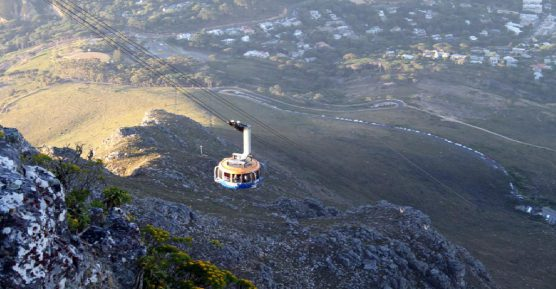 Table Mountain cable car in evening light